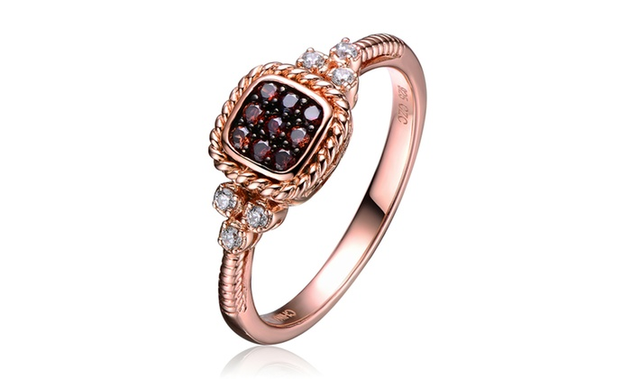 Sterling Silver White Cz Gold Plating Clear Burgundy Ring