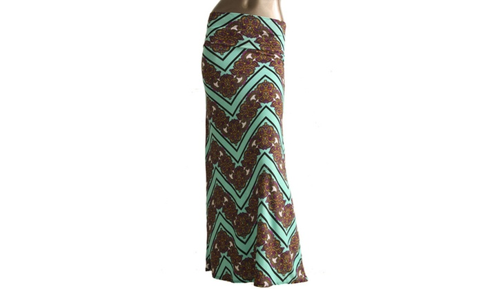 Azules Womens Stretch Maxi Skirt 9001PS-D23