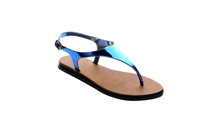 Beston AC18 Women's Jelly Thong T-Strap Slingback Flat Heel Sandals