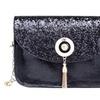 Leather Sequins Mini Chain Tassel Lock Shoulder Women Cross Body Bags