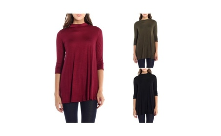 3/4 Sleeve Tunic Top Mock Neck Dress A-Line Solid Loose (ZF14) eb0182cd-a465-401e-91f5-1db3a0c77337