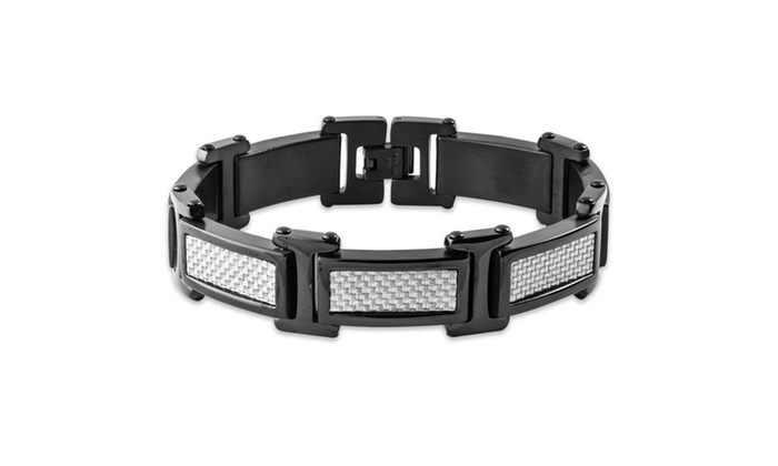 Groupon Goods: Men's Black Plated Stainless Steel Grey Carbon Fiber Link Bracelet