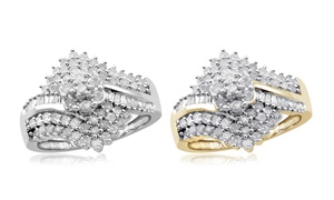 Jewelonfire CT White Diamond Cluster Bypass Ring in SS 11727