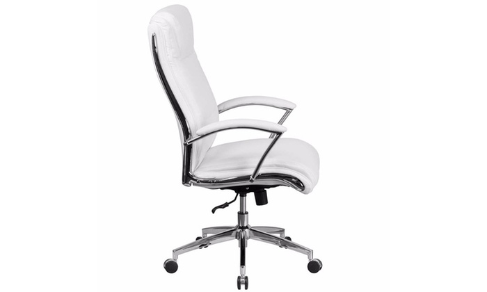 High Back Designer White Leather Executive Swivel Office Chair with Padded  Arms