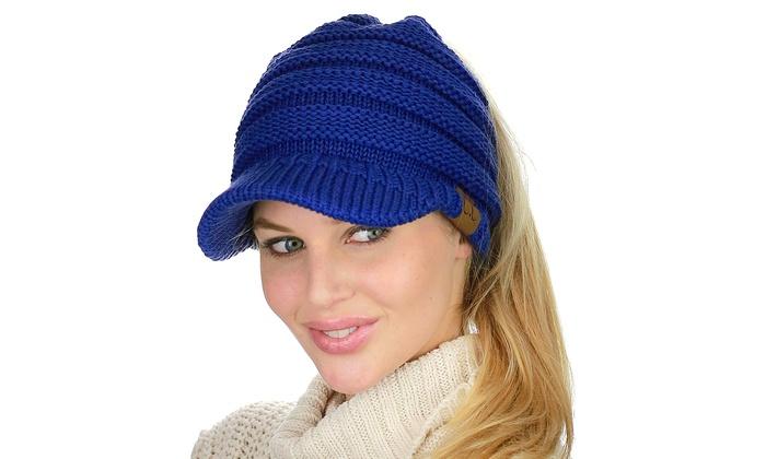 94f1cb392da C.C BeanieTail Warm Knit Messy High Bun Ponytail Visor Beanie Cap