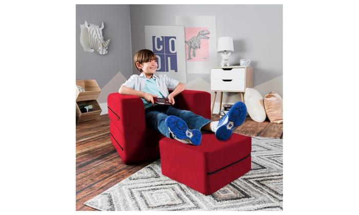 Marvelous Jaxx Zipline Kids Flip Chair Ottoman Big Kids Edition Lamtechconsult Wood Chair Design Ideas Lamtechconsultcom