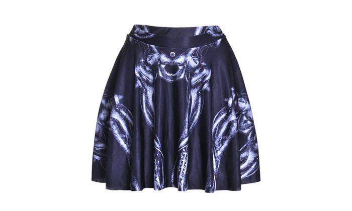 Digital Print Black Skeleton Pleated Skirt