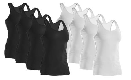 Women's 100% Cotton Ribbed Tank Tops Black & White 2 Pack Derek Heart d46016d7-c42c-4897-b30f-ba5127680621