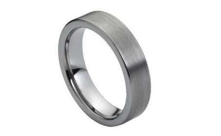 6MM Tungsten Carbide Flat with matte Brushed finish Wedding Band Ring 773adcb7-66ae-4880-ad47-b289924f0538