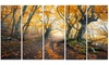 Dark Yellow Old Forest in Fog Landscape Metal Wall Art 60x28 5 Panels