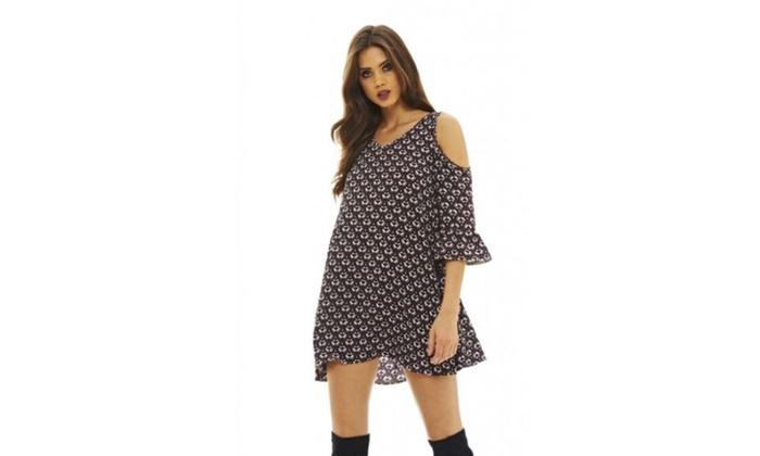 b3ca554ebee AX Paris Women s Cold Shoulder Swing Dress