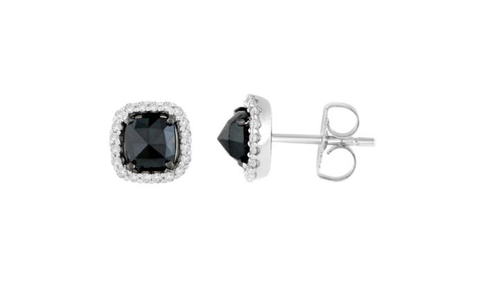5866f73e5 14K White Gold 1 3/8 CTTW Rose-Cut Black Diamond Stud Earrings(H-I,I2-I3)  Gold I2-I3 Black Round 1 3/8 ct Very Good Cut