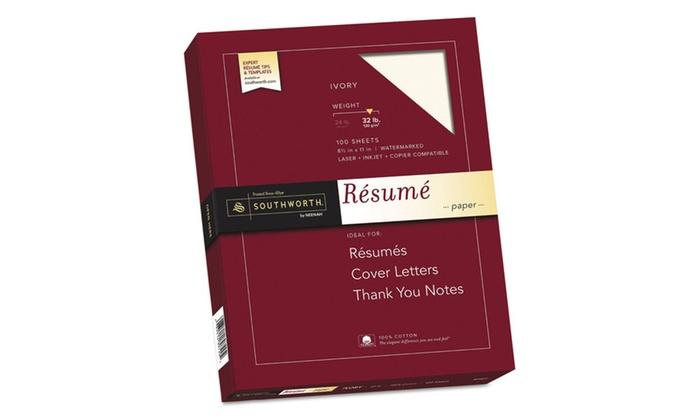 southworth co  100  cotton resume paper  8 1  2 x 11  ivory
