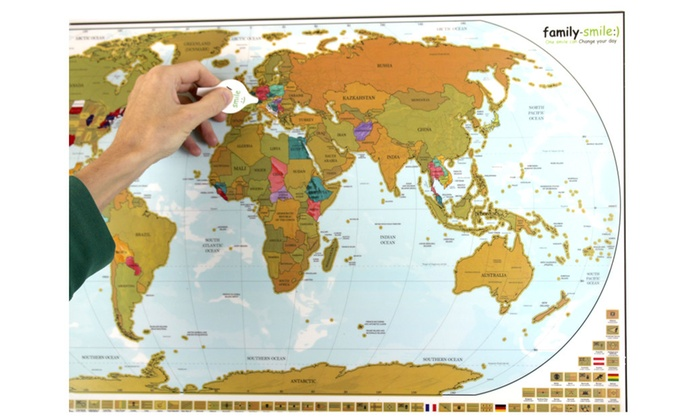 Off On World Map US Map Scratch Of Groupon Goods - Us scratch off map