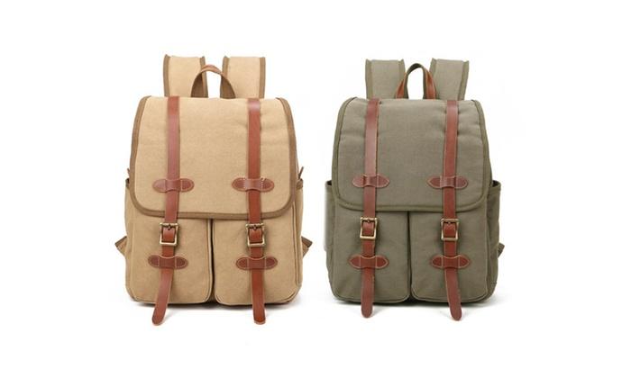 Vintage Canvas Leather Travel Backpack
