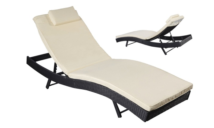Pool Patio Lounge Chair Outdoor Adjustable Wicker Chaise With Cushion ...