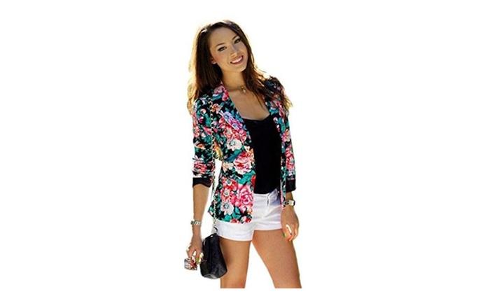 Women Fashion Slim Streetwear Casual Floral Print Short Jacket Suit