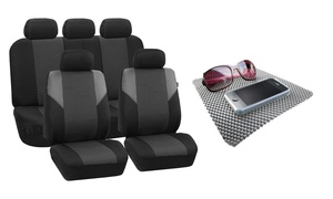 Full Set Cross Weave Car Seat Covers with Non-Slip Dash Mat Combo