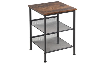 3-Tier Industrial End Side Table Nightstand W/2 Adjustable Shelves Rustic Brown