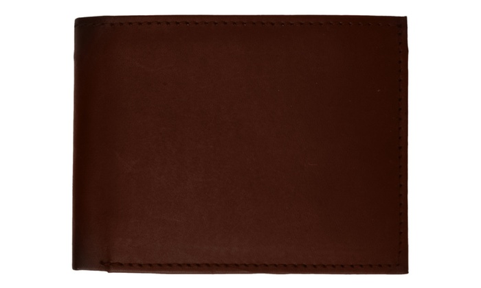 Mens Authentic Leather Regular Bifold Wallet with Flap ID Window
