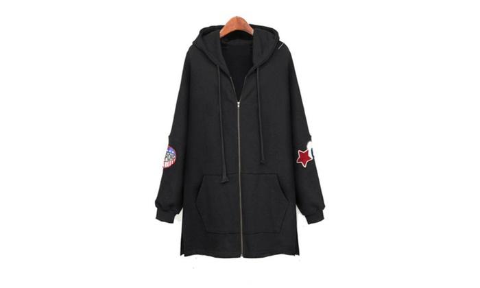 Women's Hooded Zip Closure Solid Casual Hoodies