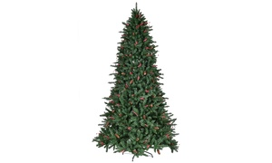 6FT/7FT/8FT PVC Christmas Tree 1388/1918/2528 Tips Green w/Pine Cones & Red