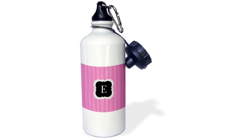 Water Bottle Pink and grey chevron monogram initial E photo