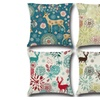 4pcs /1set Christmas Inspired Graphic Printed Throw Pillow Cover