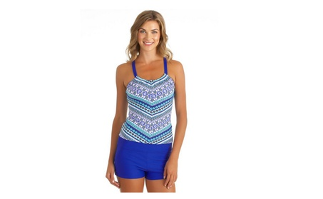 Women Printed Racerback Tankini Top With Boy Short Two Pieces Swimsuit 5fc44c9d-b65e-4632-91d6-3ab7458457a8