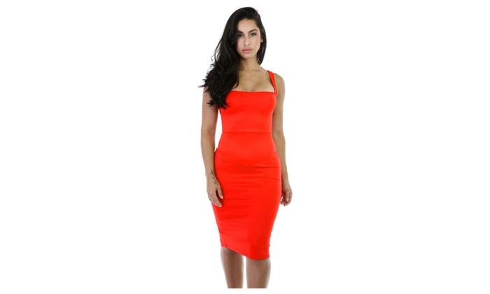 Women's Orange Corset-Style Back Lace Up Dress