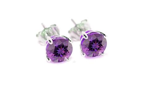 Sterling Silver Amethyst Gemstone Stud Earring