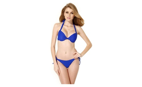 2 Piece Bikini Add-2-Cups Halter Top with Push-up Molded 3/4 Cups b7cb5385-0179-4f59-9505-84447fd8d363