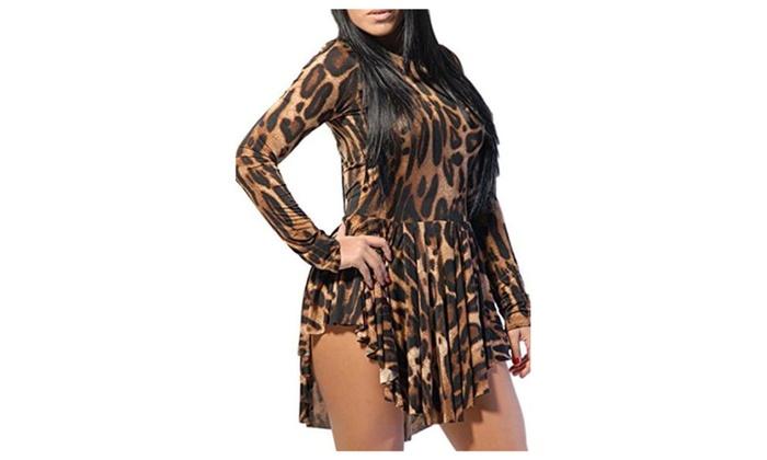 Women Leopard Print Slim Cocktail Bodycon Bandage Clubwear Dress