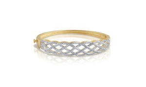 14K Gold Plated Diamond Accent Criss Cross Bangle-KG17844CYSC