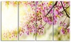 Blooming Cherry Flowers Floral Metal Wall Art 48x28 4 Panels