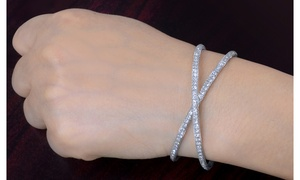 Crystal X Bangle Made with Swarovski Crystals by Sophia Lee