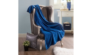 Soft Solid Colored Fleece Throw Blanket and Pillow Cases (1 or 2-Piece)