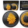 Genuine 1900's Indian head Cent PennyFull Liberty Coin Black Ruthenium 24K Gold