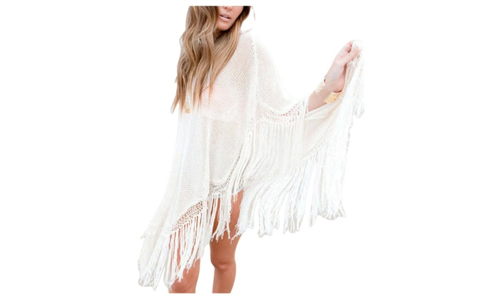 Women's Mesh Loose Vanguard Scalloped Hem Cover-Ups