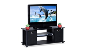 Furinno 13054BK/BK Econ Entertainment Center with Storage Bins