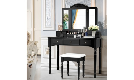 Vanity Set W/7 Drawers Tri-Folding Necklace Hooked Mirror Dressing Table 3 color