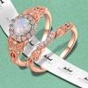 18K Rose Gold & Fire Opal Engagement Ring Set