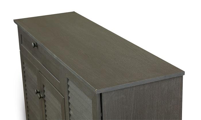 Baxton Studio Wood Louvered-Door Shoe-Storage Cabinet | Groupon