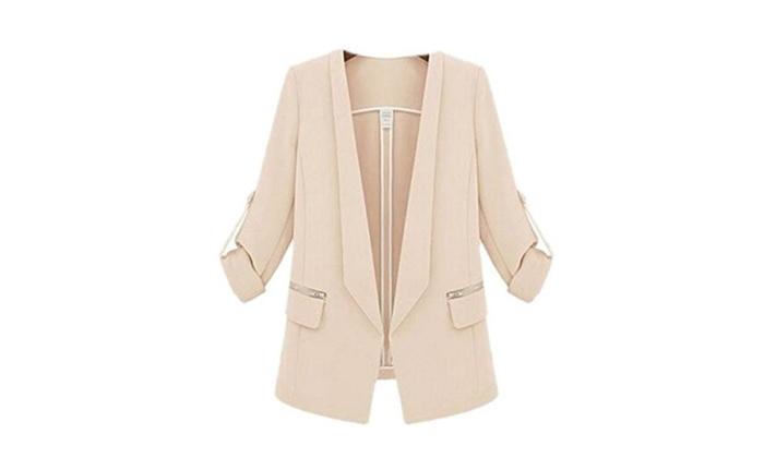 Womens OL Casual Long Sleeve Open Front Blazer Suit Coat Jacket