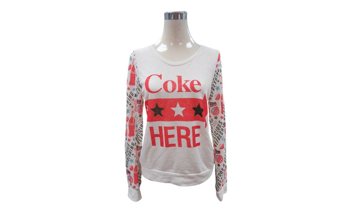 Women's Coca Cola Coke Mix Print with Mesh Out Back Sweaters