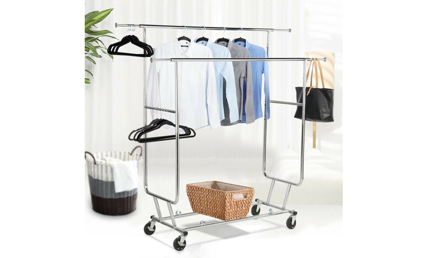 Commercial Grade Garment Rack Clothing Rack Adjustable Rail