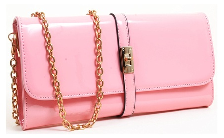 Pink Retro Look Vegan Patent Leather Fashion Clutch Purse (Goods Women's Fashion Accessories Handbags) photo