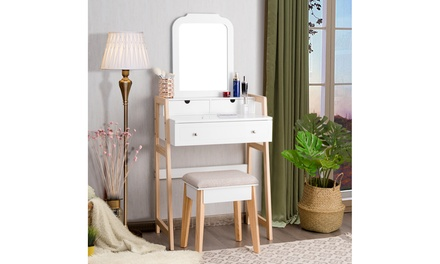 Makeup Vanity Table w/ 3 Drawers & Mirror Dressing table and Cushioned Stool Set