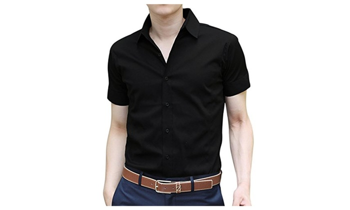 Pishon Men's Button Down Shirts Casual Oxford Short Sleeve Slim Fit Dress Shirts
