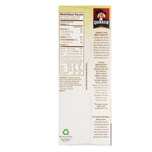 Quaker Instant Grits 12-1 Oz packets